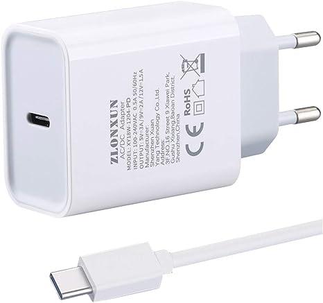 ZLONXUN Chargeur Rapide USB C 18W avec Câble USB C 1M