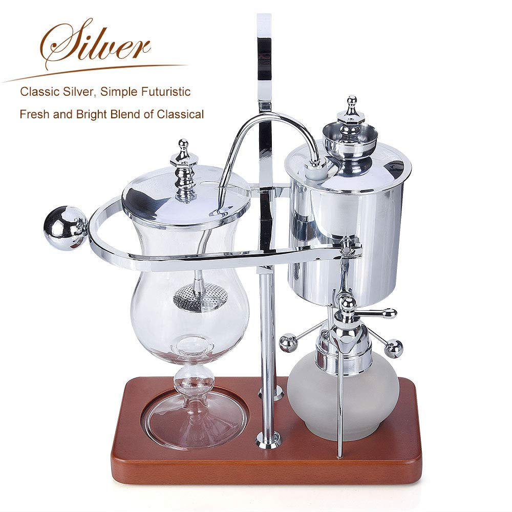 Silver Seeutek Siphon Coffee Maker Belgian Belgium Luxury Royal Family Balance Syphon Coffee Maker