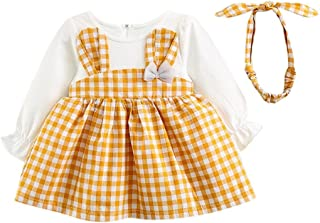 BBsmile Ropa Bebe Niña Otoño Invierno Niño pequeño Manga Larga a Cuadros de niña Vestido de Princesa Conejo + Diadema Conjunto de Trajes