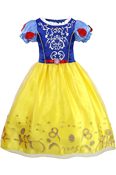 Girls Dress Yellow Princess Belle Costume Birthday Party Age 3-8 Years