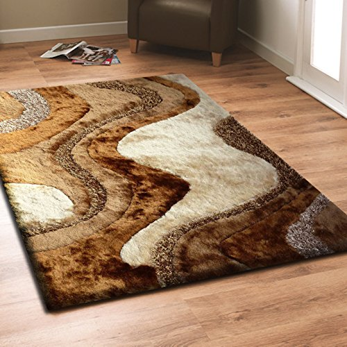 Beautiful & Luxurious Superior Quality Area Shag Rug, Hand Tufted , Contemporary Design, Beige, Brown, Bronze, Champagne, Hand Carved, Soft and Fuzzy Rug, ~ 5 x 7 ~ ft ON SALE! (Hand Beige Tufted Polyester)