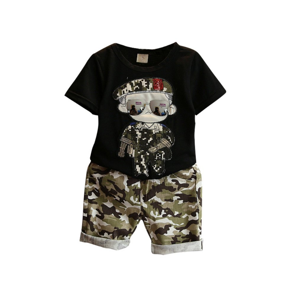 Loveble Fashion Cool Boy Cartoon Character Short Sleeve T-Shirt + Short 2 Pcs Sets
