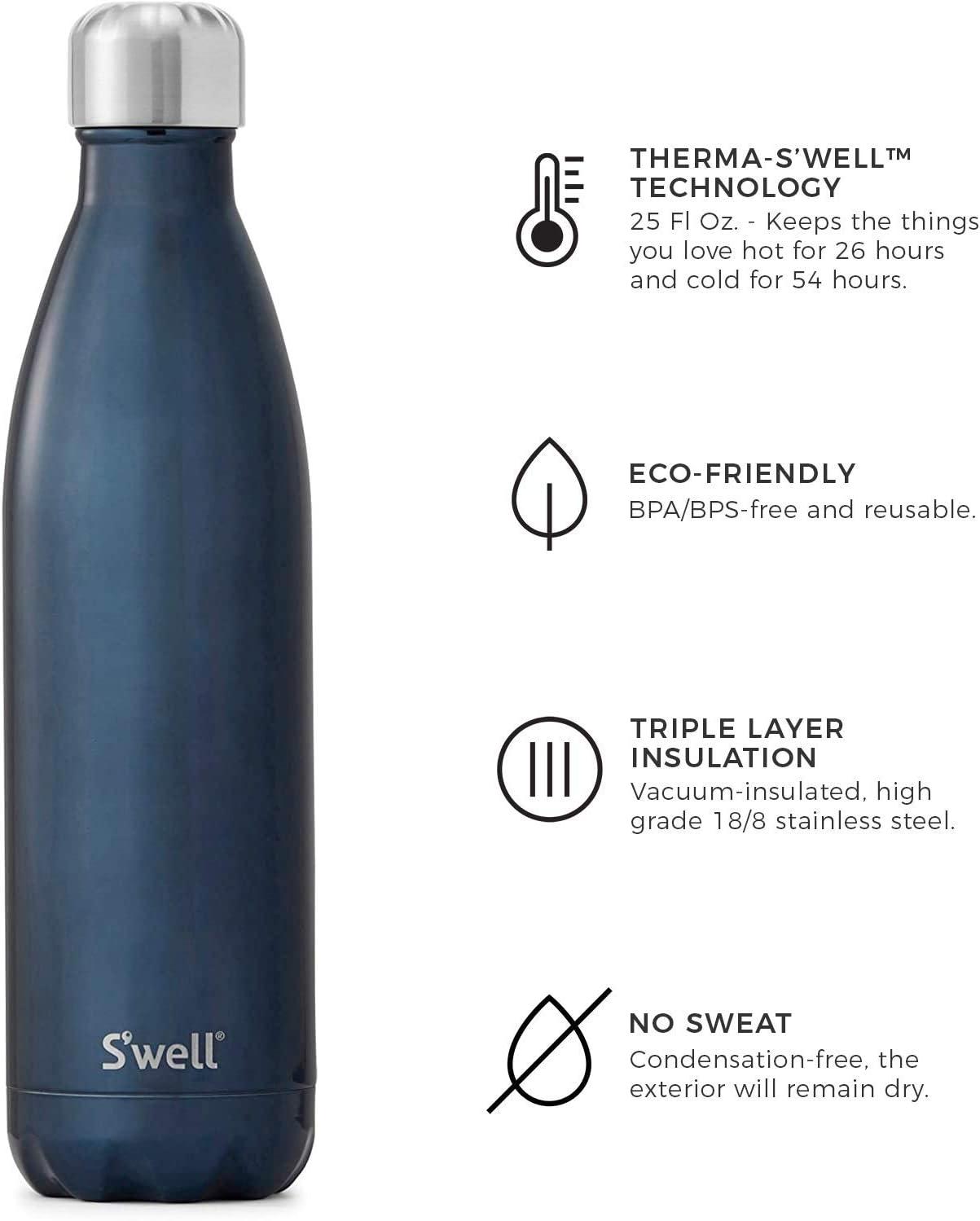 color Gamuza Azul Swell 3.15 x 3.15 x 11.81inches tama/ño 750 ml Botella de agua de acero inoxidable unisex