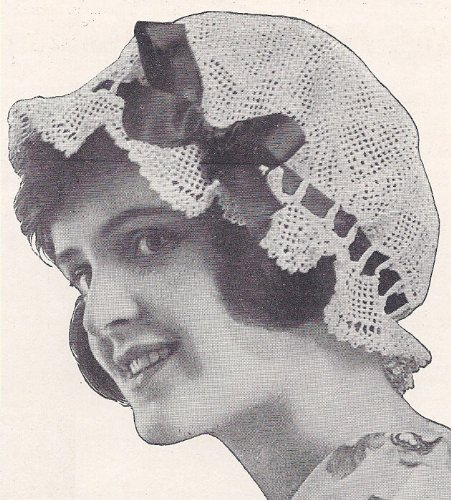 Vintage Crochet PATTERN to make - Mop Cap Boudoir Bonnet Hat Filet Crochet. NOT a finished item. This is a pattern and/or instructions to make the item only.