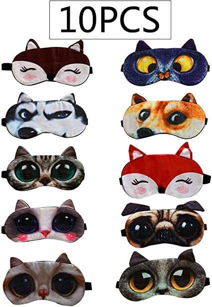 Cute Cartoon Animal Eye Sleep Mask Soft Cotton Travel Blackout Blindfold CS
