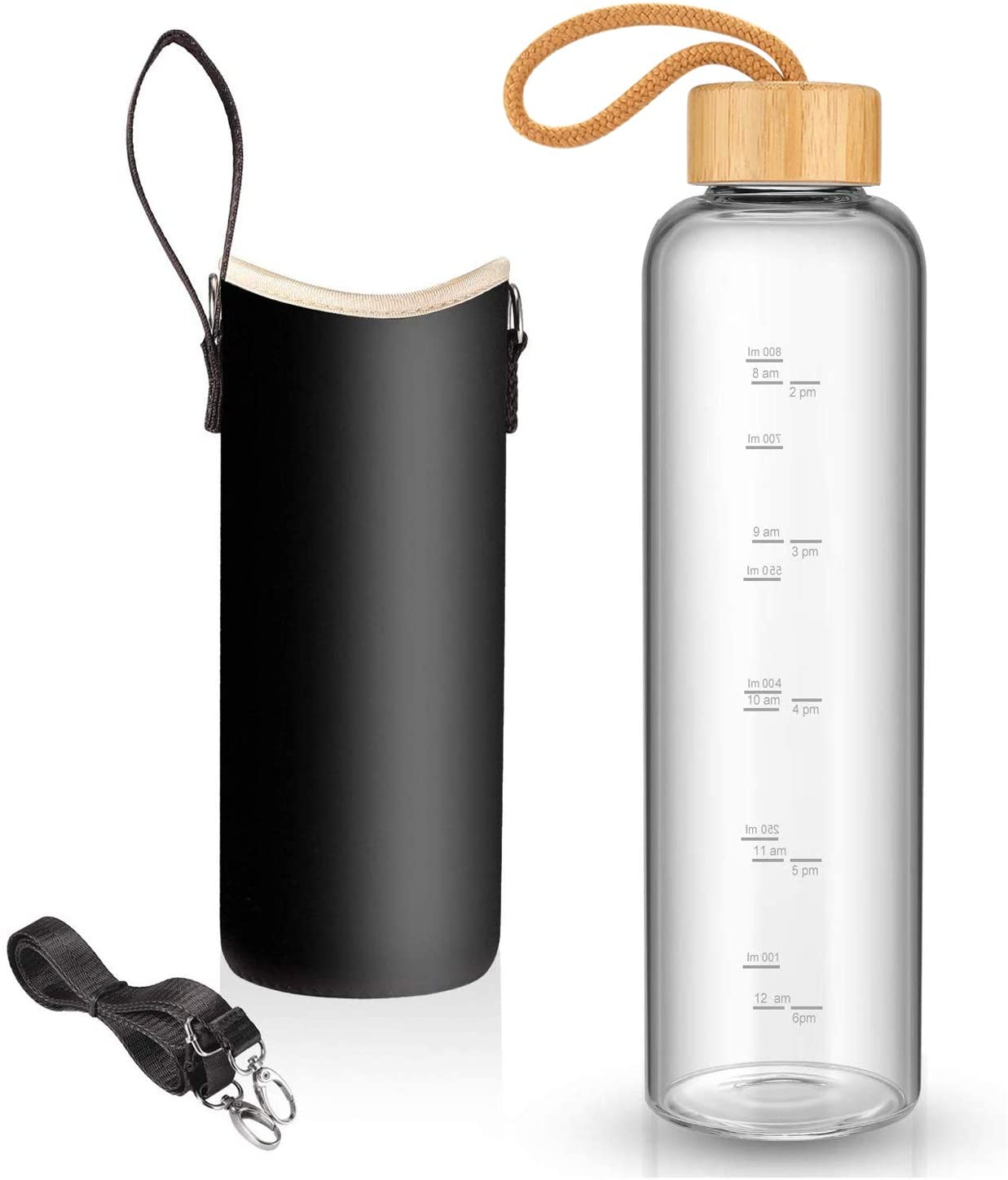 Brown 32 oz Glass Water Bottle with Nylon Bottle Protection Sleeves 1L