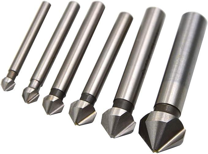 JKLBNM 6 Flute Countersink Drill Bit 90 Degree Point Angle Chamfer Cutting Woodworking Tool