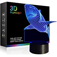 Night Lights for Kids Dinosaur 3D Night Light Lamp Wiscky 7 LED Colors Changing Touch Table Desk Lamps Decorative Lighting Pretty Cool Toys Gifts Birthday Holiday Xmas for Baby Nursery Toddler Friends