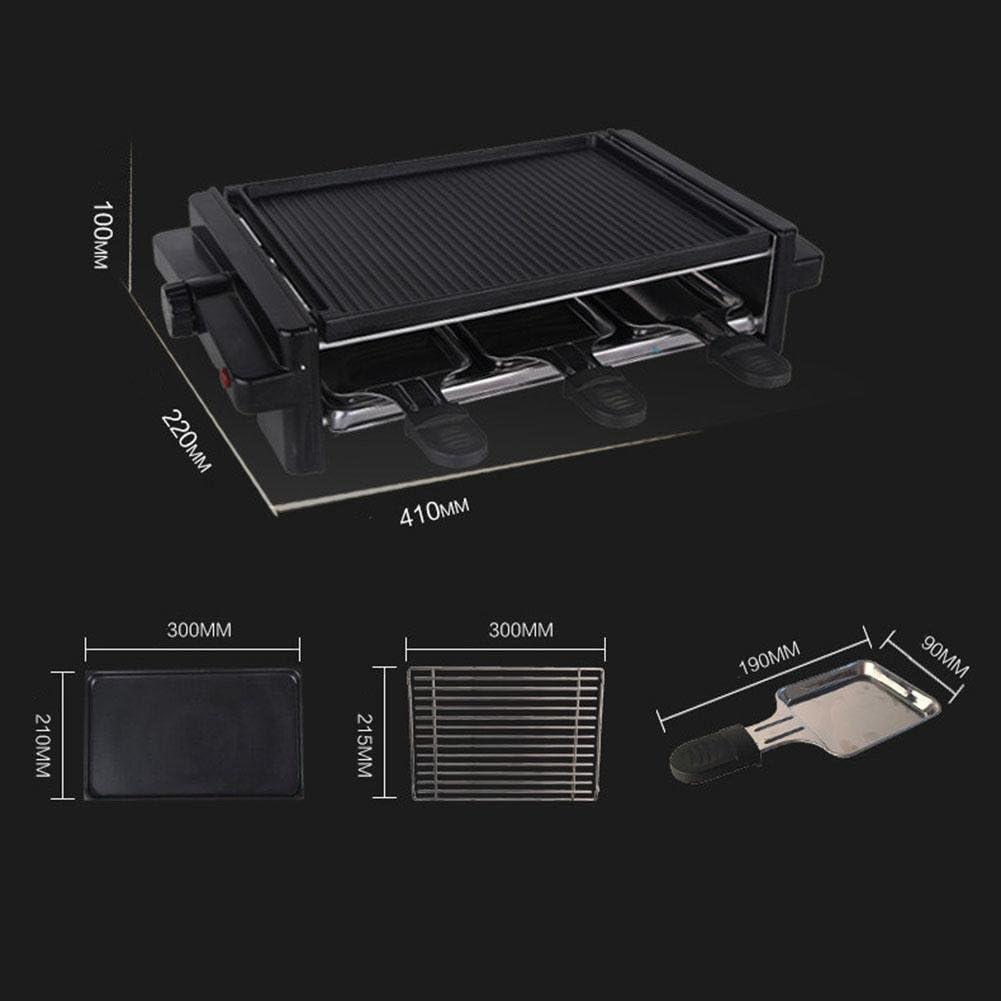 ZXZ-GO Gril électrique Non-bâton de Table de Teppanyaki de Doubles Couches avec la température 1200W réglable pour 5 Personnes et Dessus [6 * Spatules], Black Red