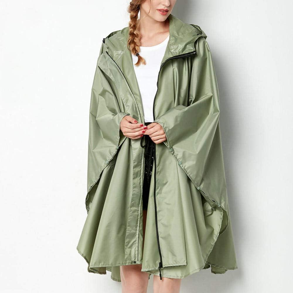 SHUHANX Rain Poncho For Adults Women S Solid Jacket Outdoor Hoodie Waterproof Windproof Long Coat Outwear Spring Autumn Raincoat Green