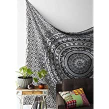 Craftozone white and black mandala Tapestry , Elephant Tapestry , Hippie Gypsy Wall Hanging , Tree of Life Tapestry , New Age Dorm Tapestry (Multi/Black)