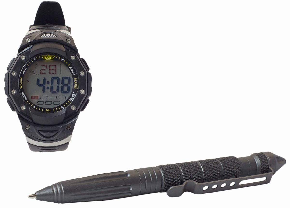 Amazon.com : UZI UZI-TPW-COMBO Tactical Combo Pack con interruptor de vidrio Pluma y reloj digital, Negro : Sports & Outdoors