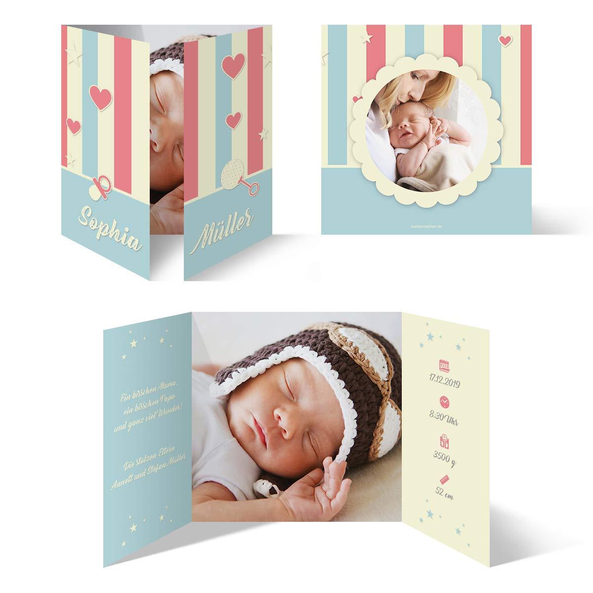 60 x Geburt Danksagungskarten Geburtskarten individuell mit Foto und Text für Mädchen und Jungen - Fröhlichkeit B07N12NCN4 | Kaufen  | Geeignet für Farbe  | Einfach zu bedienen
