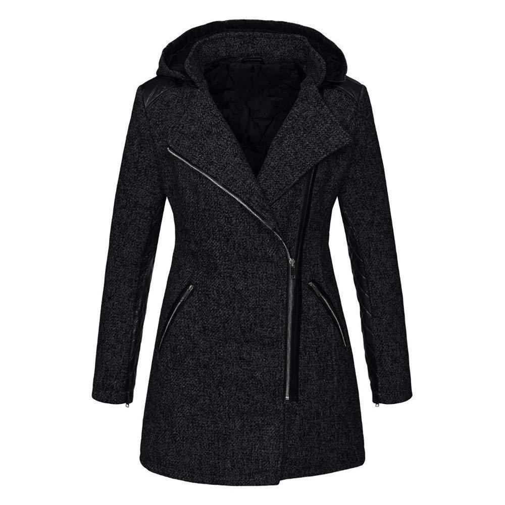 Rmeioel Plus Size Women Warm Slim Oversize Solid Jacket Thick Parka Overcoat Winter Outwear Hooded Zipper Coat by Rmeioel