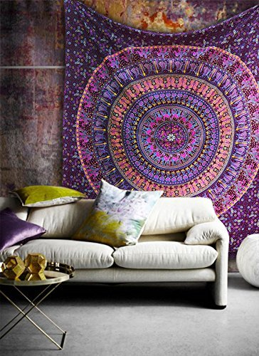 Popular Handicrafts Hippie Mandala Bohemian Psychedelic Intricate Floral Design Indian Bedspread Magical Thinking Tapestry 84x90 Inches,(215x230cms) Maroon Pink