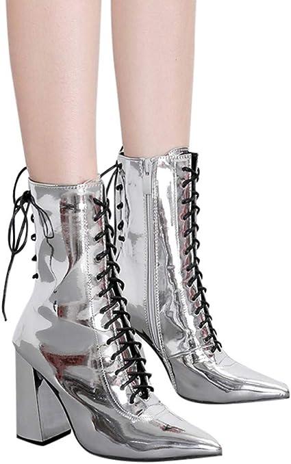 Zapatos De Mujer,RETUROM Botas De Mujer Botines Mujer Invierno OtoñO Negro Plano Pierna Alta Ante Casual Largo Alto Botas De Color SóLido Plana Martin Altas Botas Largas Zapatos Casuales: Amazon.es: Zapatos y