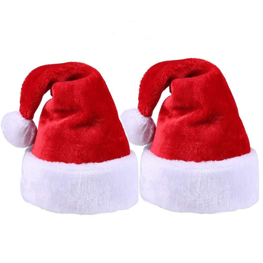 2pcs Christmas Santa Hat,Thickened Luxury Short Plush Christmas Hat Thickened Lengthened Santa Claus Cap Xmas Hat for Adults(Wide:12.2'',Height:18.5'') by Alimitopia