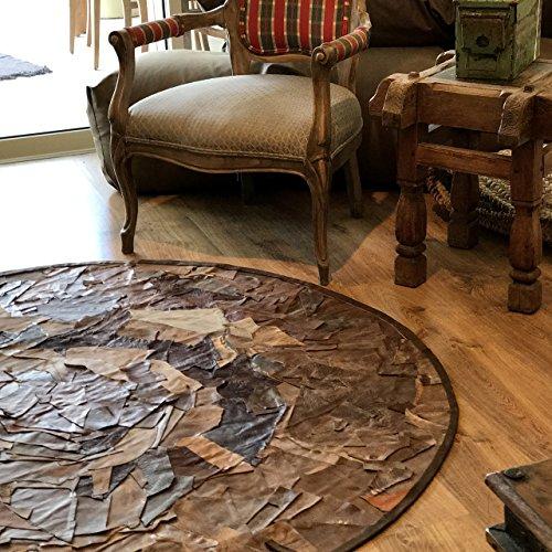 - Handmade Circular leather rug round Carpet Designer Decorative Floor Mat patchwork sizes 5'3