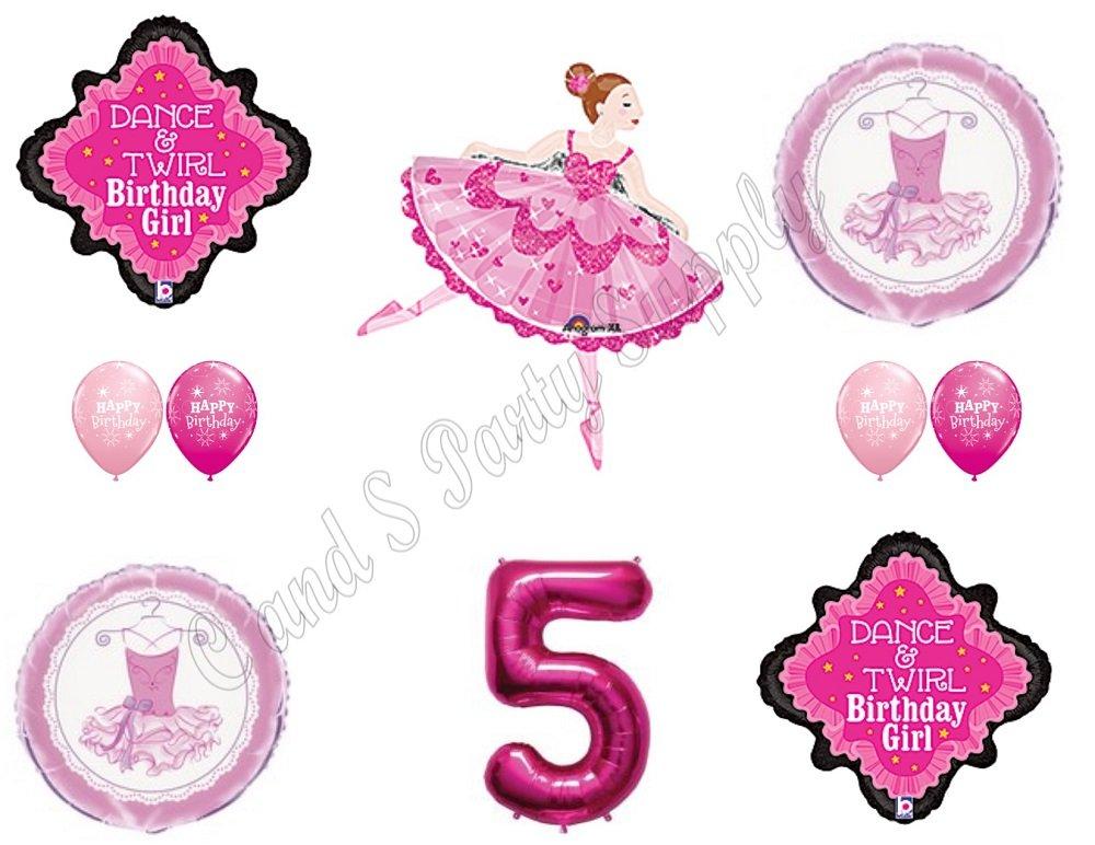 BALLERINA DANCE Twirl 5TH Birthday Party Balloons Decoration Supplies Fifth