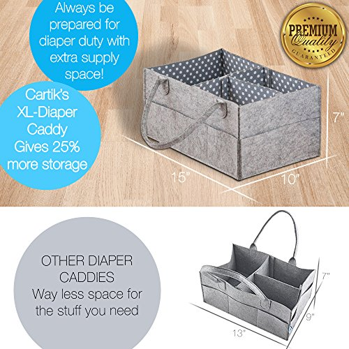 Baby Diaper Caddy Organizer Set of 2 – Nursery Basket with Handles – Baby Diaper Storage and Changing Table Organizer 2-Pack – Perfect Baby Shower Gift Basket for Newborn Girls and Boys by Cartik by Cartik (Image #7)