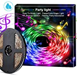 cilicili LED Strip Lights sync to Music, LED Rope Lights 5050 Waterproof Flexible RGB Strip Lights with 360 Degree Signals Accept RF Remote 12V AC Adapter Powered, 5M/16.54ft