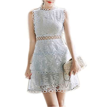 MinxilUgd Embroidery Floral Lace Puff Hollow Out Sexy NEW Summer Women Sleeveless Empire Mini Party Dress