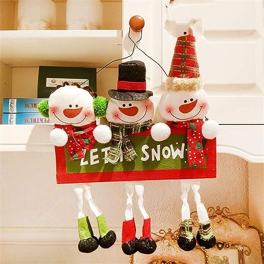 PRENKIN Rat/án Bricolaje Puerta de la Navidad Colgantes en Forma de coraz/ón Decoraci/ón Adornos Colgantes de Navidad del Partido Ronda del hogar del /árbol