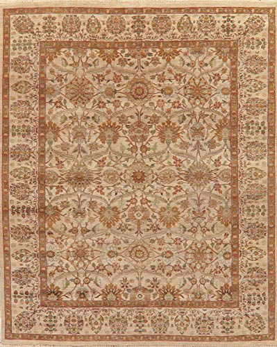 (9X12 Floral Presidential Beige Brown Agra Oriental Area Rug Hand-Knotted Wool)