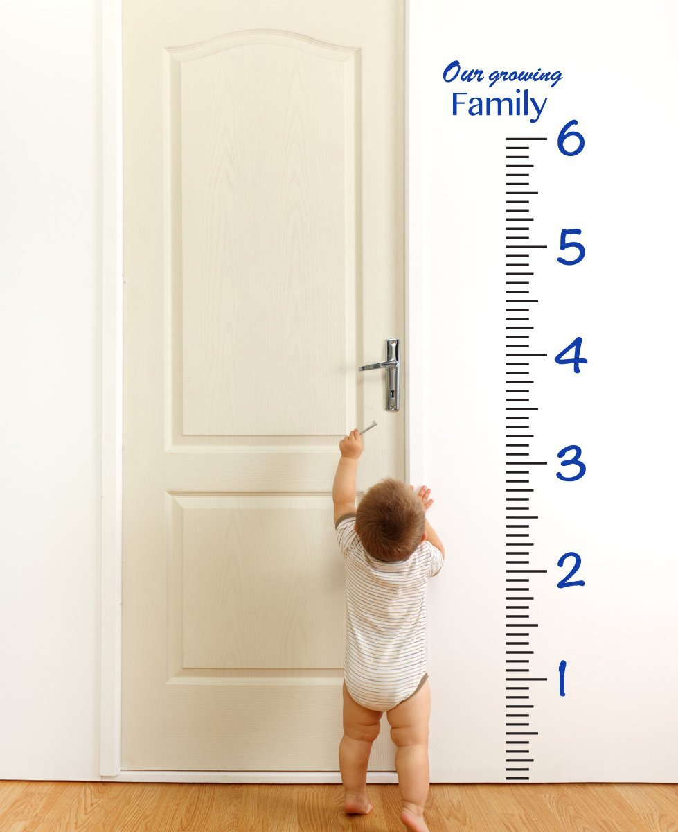 Giant Vinyl Growth Chart Kit | Kids DIY Height Wall Ruler Large Measuring Tape Sticker Number Decal Sticker (Dark Blue, 73x23 inches)