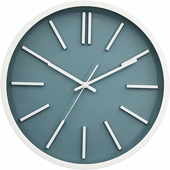 JAPO ART Modern Minimalist Wall Clock, Silent Non-Ticking Quartz Decorative Battery Operated Wall Clock for Living Room Home Office School Plastic Frame Glass Cover Blue III, 14