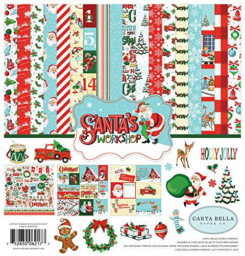 Carta Bella Paper Company CBSW90016 Santa's Workshop Collection Kit Paper, red, Green, Black, -
