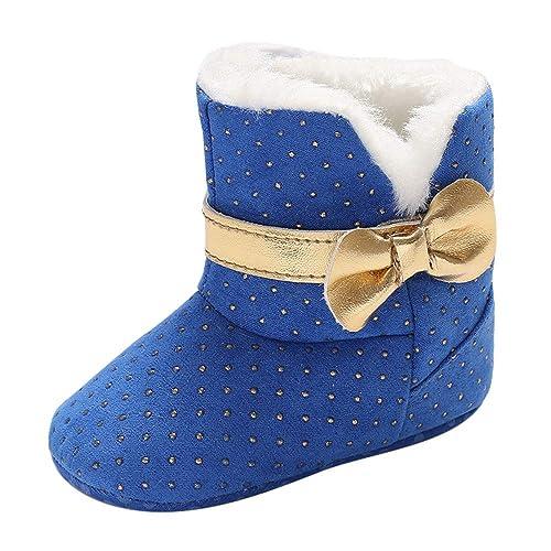 Scarpe Primi Passi Topgrowth Bambina Stivali da Neve Bowtie Stivali Neonato  Infantile Culla Stivali Invernali Punto 1a3aed1eee3