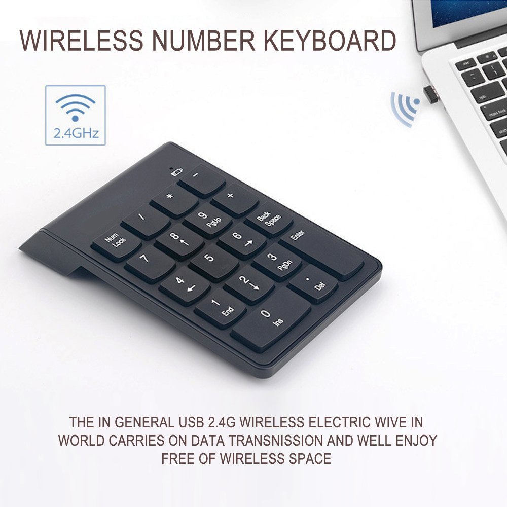 Sumger Numeric Keypad 2.4G wireless Keyboard Mini Portable 18 Keys Number Pad Financial Accounting Keypad with USB Receiver wireless for iMac,MacBook,MacBook Air,MacBook Pro,Laptop with AAA Battery by Sumger (Image #5)