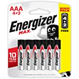Energizer E92BP6 Max 1.5V Alkaline AAA Batteries, 6 Pieces - Black