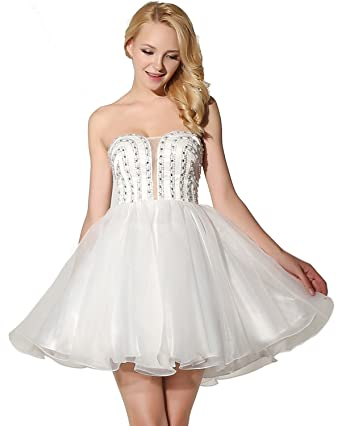 Belle House Off White Tulle Short Homecoming Dress for Juniors 2018 Strapless Prom Dress A Line