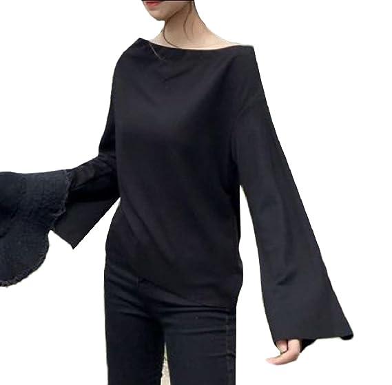7d4bb8b0259bb SportsX Women Baggy Long-Sleeve Off-Shoulder Flared Tops T Shirts Blouse  Black One