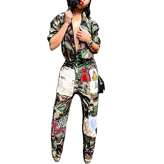 5d037e780c22 Image Unavailable. Image not available for. Color  Women s One Piece Zipper Jumpsuit  Camouflage Printed Sports Sweatsuits