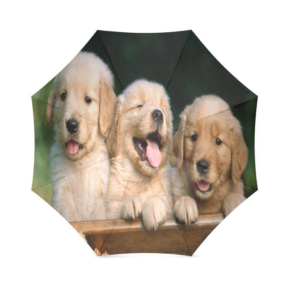 Custom Cute Golden Retriever Dog Compact Travel Windproof Rainproof Foldable Umbrella