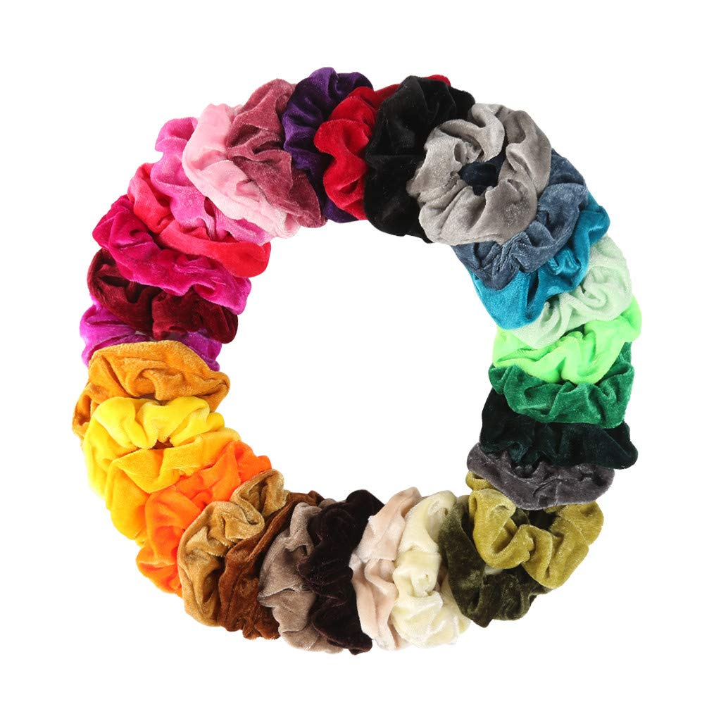 Scrunchies for Hair Elastic Bands Scrunchy Ties Ropes Scrunchie Women Girls 21//45//30//40//50 Accessories Assorted Colors Velvet Scrunchies XGao Scrunchies
