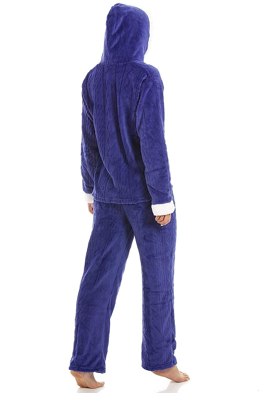60ca3fee62 Camille Womens Luxury Supersoft Velour Fleece Hooded Pyjama Set larger image