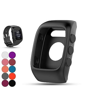 Saisiyiky Polar M400 / M430 Reloj reemplazo Banda Cubierta Protectora Manga, Silicona Protectora Bolsa para Polar Unisex M400 / M430 Reloj GPS(Negro): ...