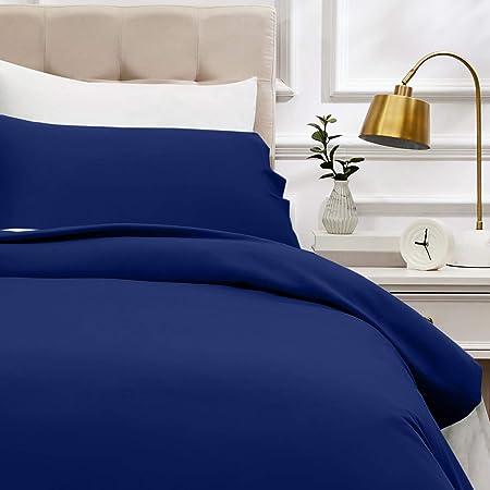AmazonBasics - Juego de funda nórdica de satén de algodón de 400 hilos - 135 x 200 cm/ 50 x 80 cm x 1, Azul marino: Amazon.es: Hogar