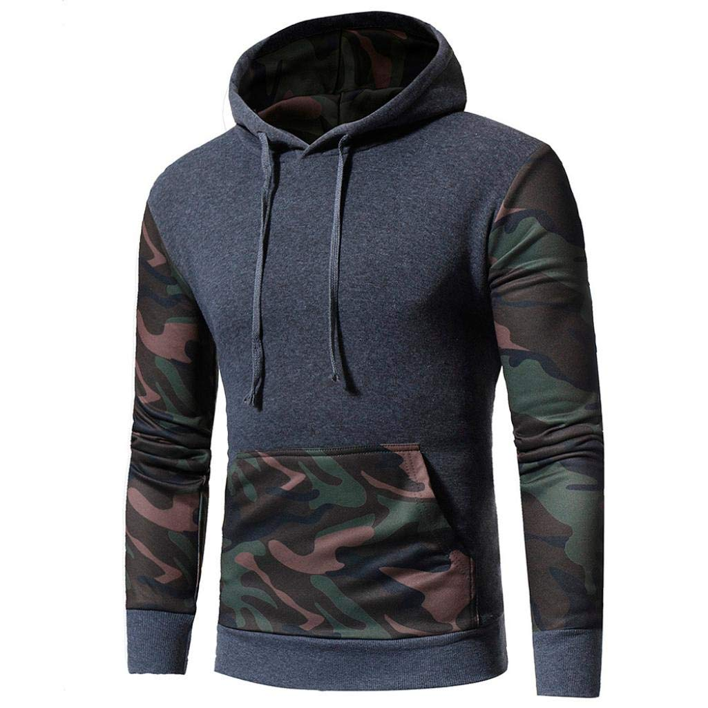 Bookear Men's Camouflage Long Sleeve Print Hooded Sweatshirt Tops Warm Outwear Jacket Coat