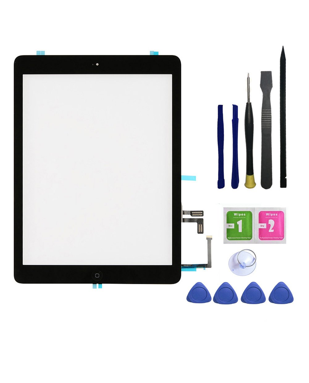 FeiyueTech Ipad 5 Ipad Air 1st Touch Screen Digitizer Replacement ,Front Glass Assembly -Includes Home Button + Camera Holder+PreInstalled Adhesive with tools kit . (black)
