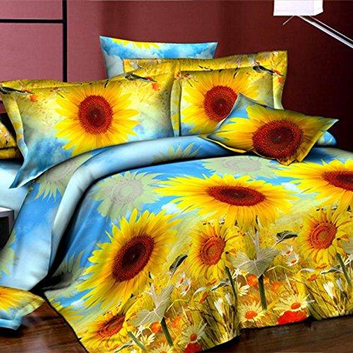 Meidus 4pcs/sets Sunflower 3D Printed Cover Sets Decorative Romantic Bedding Sets