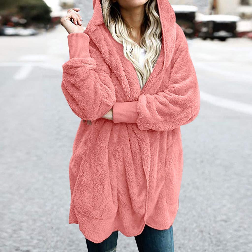 Clemunn Damen Mantel Pl/üschjacke Winter warme Kunstpelz Langarm Strickjacke Outwear Cardigan Pl/üschjacke Winterjacke Teddy-Fleece Coat