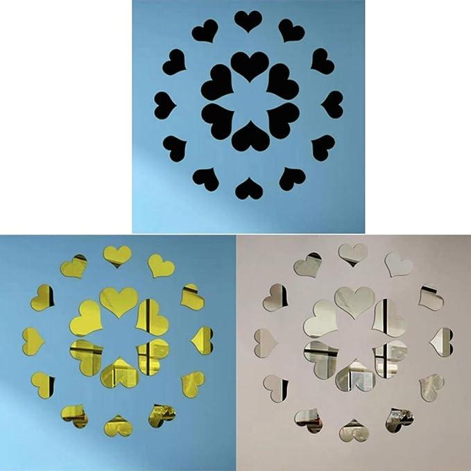 Argent DAY8 Stickers Muraux Chambre Adultes Salon Citations 3d Stickers Muraux Miroir Coeur 15 PCS Grande Taille