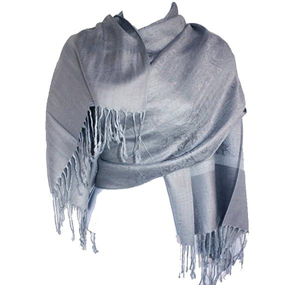 Silver Fever® Pashmina Foulard Châle étole bicolore Jacquard Paisley  (argent gris) 76a2d40ca48