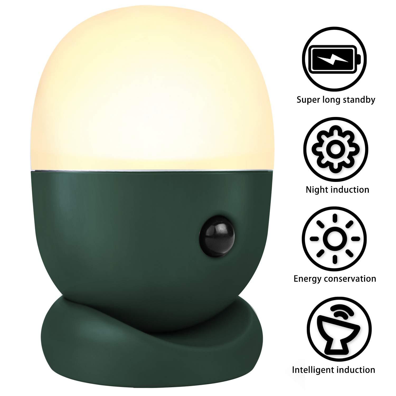 Motion Sensor Night Light Bedside Lamp, TIGOD Nursery Lamp Rechargeable Battery USB Plug in Bathroom Toilet Night Light, Small Table Lamps for Bedroom Hallway Night Light Under Cabinet Lighting