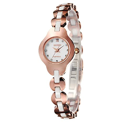 Pulsera de cuarzo resistente al agua reloj mujer relojes acero reloj , rose gold